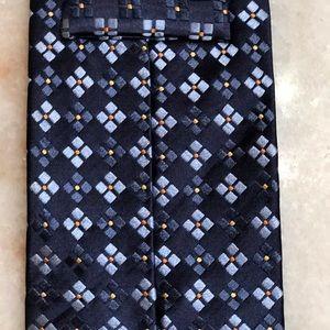 Ermenegildo Zegna Accessories - Ermenegildo Zengna Blue Square Pattern Silk Tie